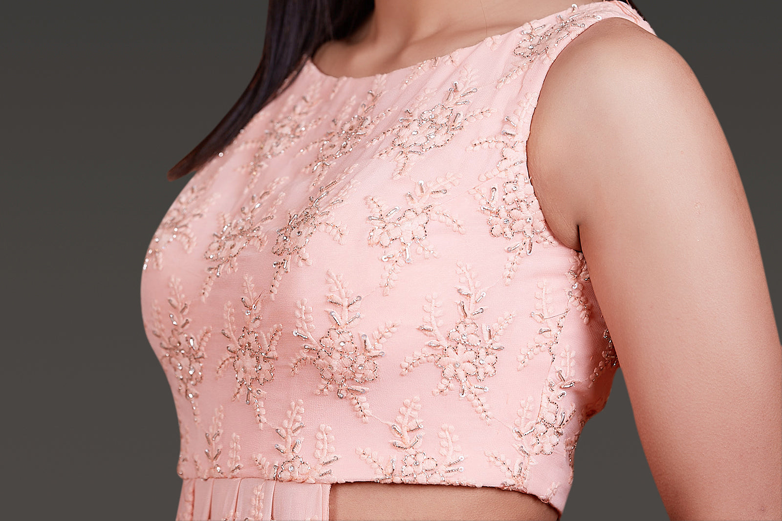 BABY PINK ONE SIDE OPEN CHICKANKARI PLEATED ANARKALI