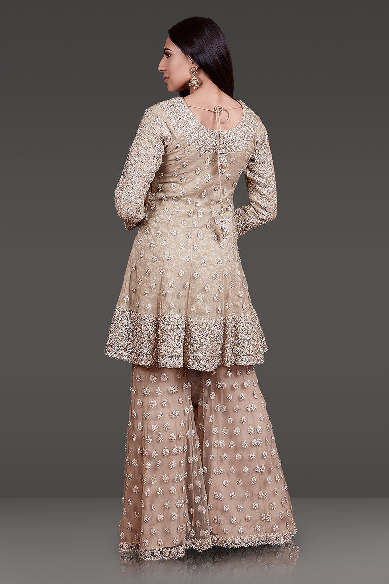 Gold Colour Tone-to-Tone embroidered Net Kameez with Sharara and Dupatta
