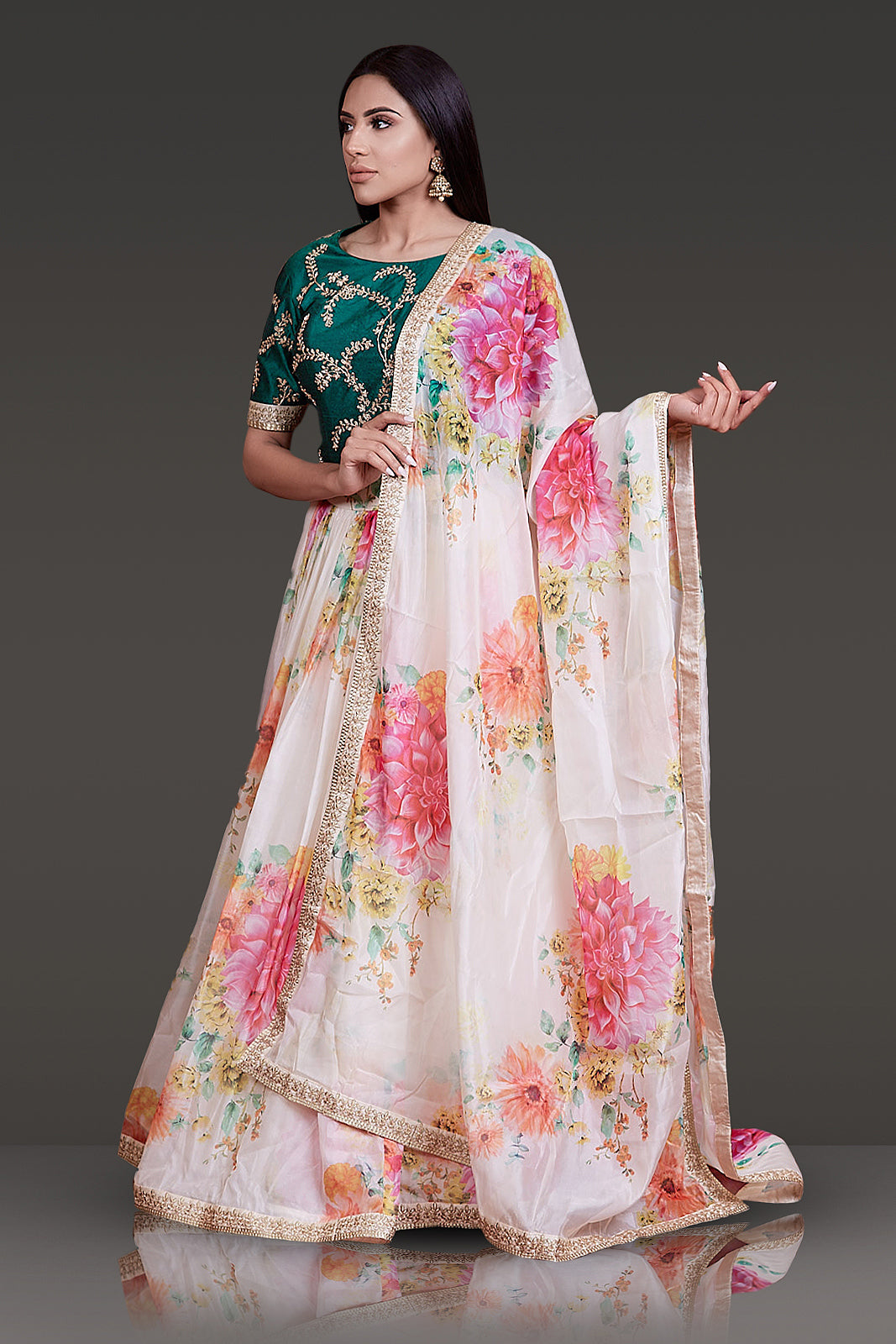Floral Organza Skirt, Dupatta and Gota Patti Embroiderd Top