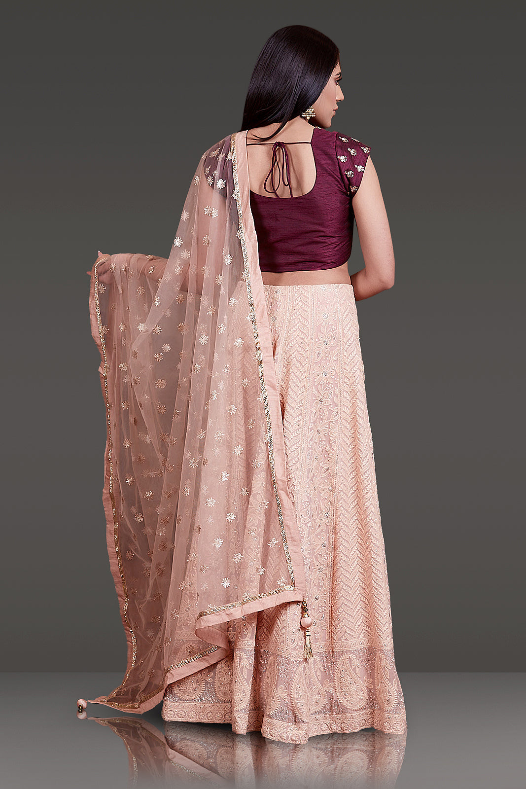 WINE COLOR RAW SILK TOP WITH PEARL AND STONE WORK PAIRED WITH CHICKENKARI SKIRT AND DUPATTA