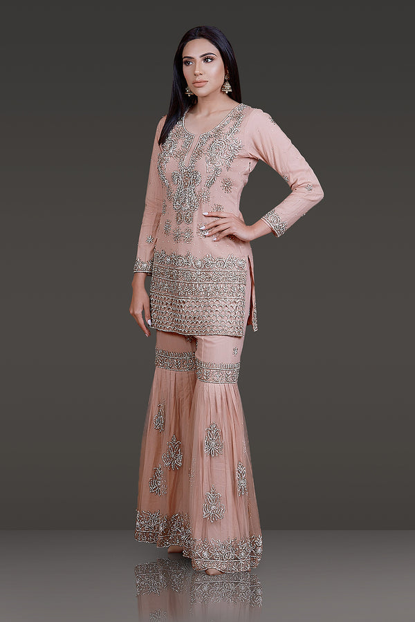Dark Nude Kameez with Zarkan Embroidery and Cutwork, Net Sharara and Dupatta