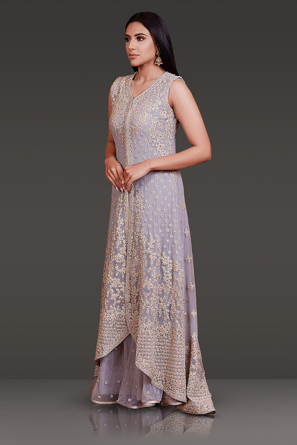 LIGHT GREY NET JACKET WITH TONE TO TONE RESHAM EMBROIDERY HIGHLIGHTED WITH STONE WORK PAIRED WITH NET SHARARA SND DUPATTA