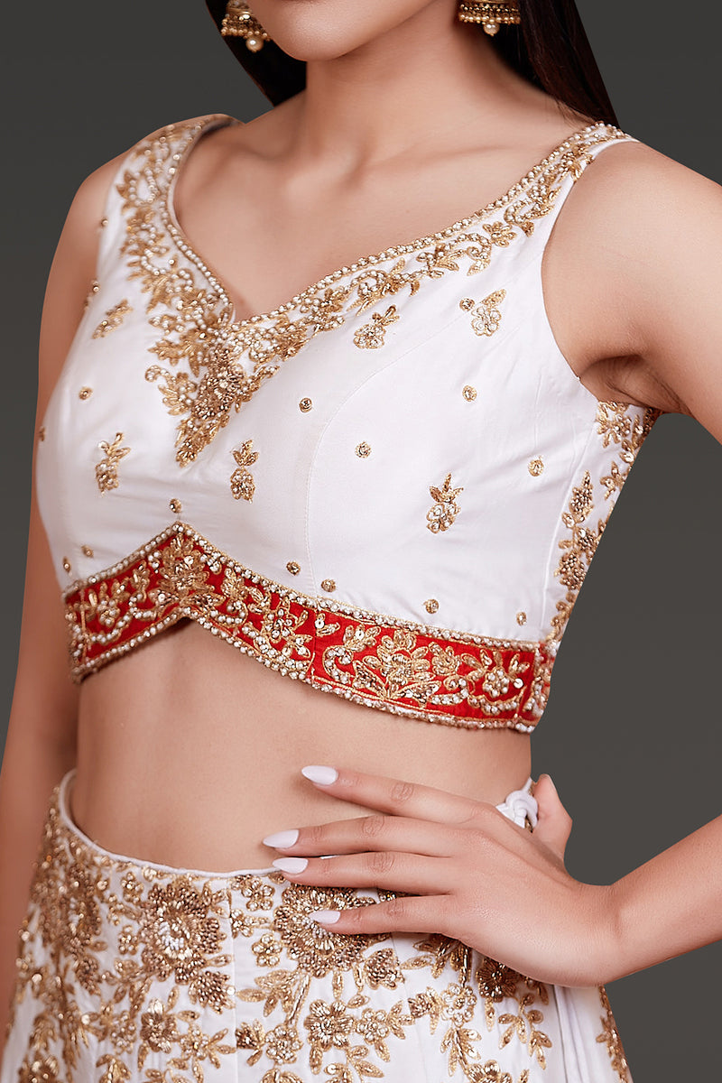 WHITE TAFFETA SILK LEHENGA,TOP AND DUPATTA WITH DABKA EMBROIDERY