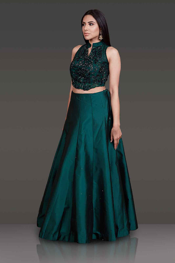 Velvet Laser Cut Emerald Green Crop Top With Tafta Silk Bottle Green Skirt