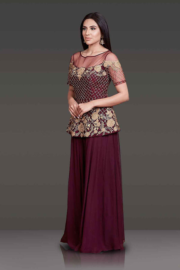 Burgundy Peplum with Sharara Paired With Net Scarf
