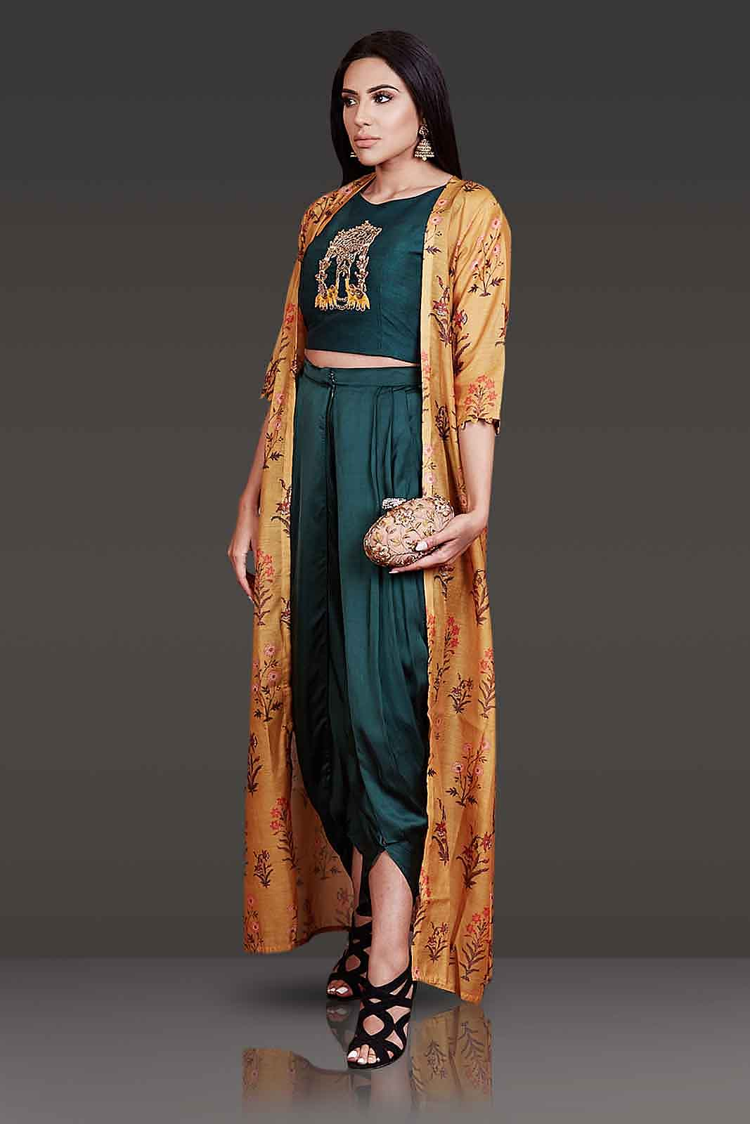 Top And Dhoti Style Bottom Paired With Open Jacket