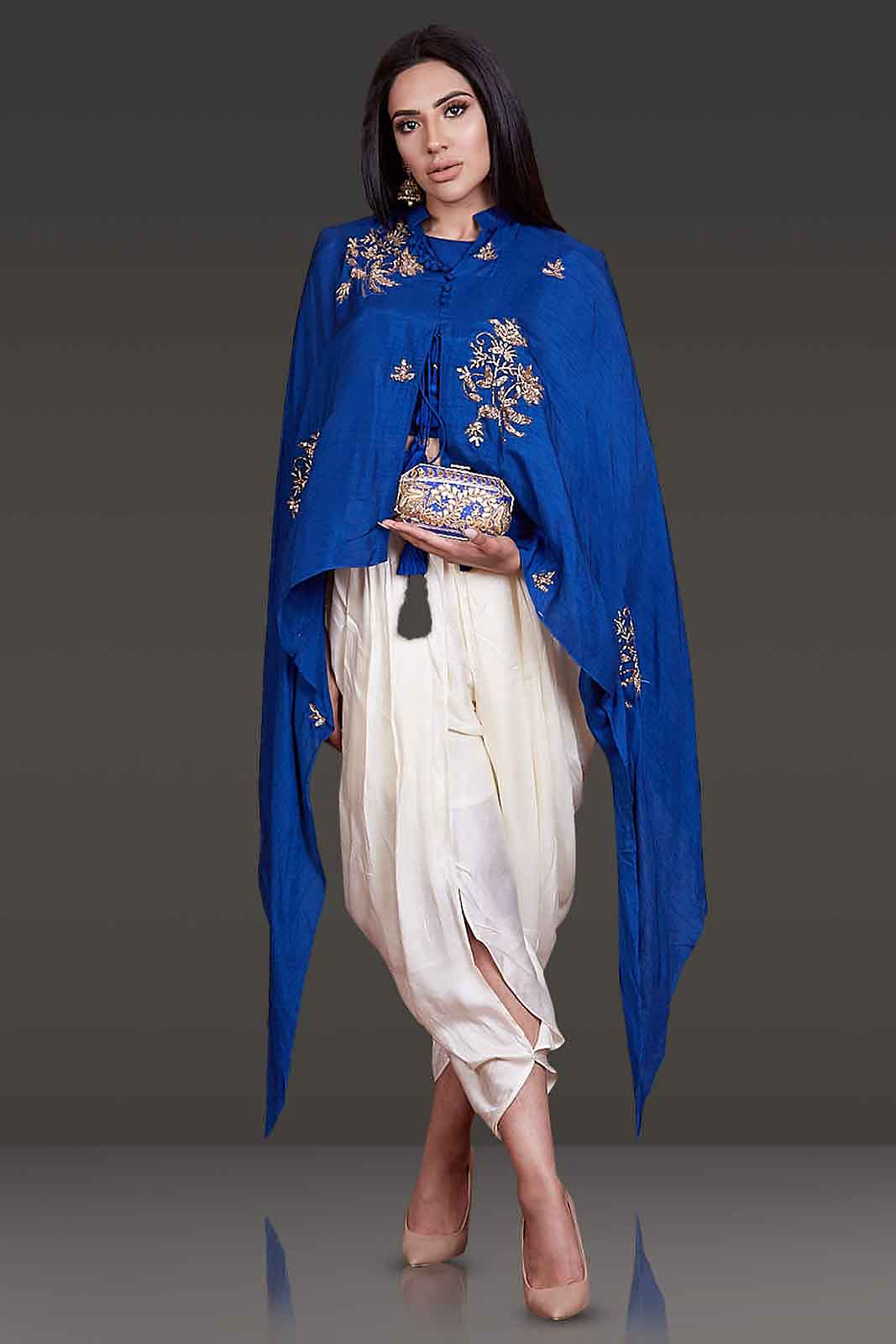 Stylish Cape Paired With Dhoti
