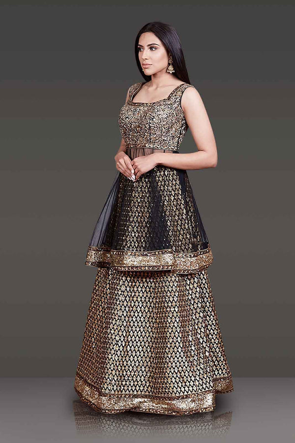 Black Net Peplum Silk Skirt and Net Dupatta with Gold Zari Embroidery