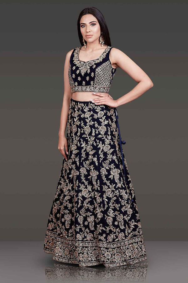 navy Bridal Outfit With Velvet Top And Net Dupatta