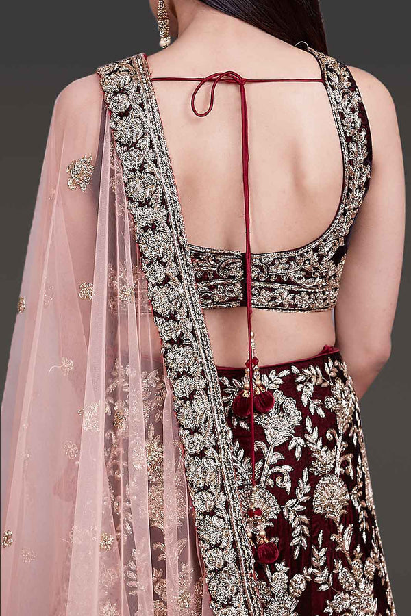 Velvet Bridal Outfit Embellished With Hand Embroidery