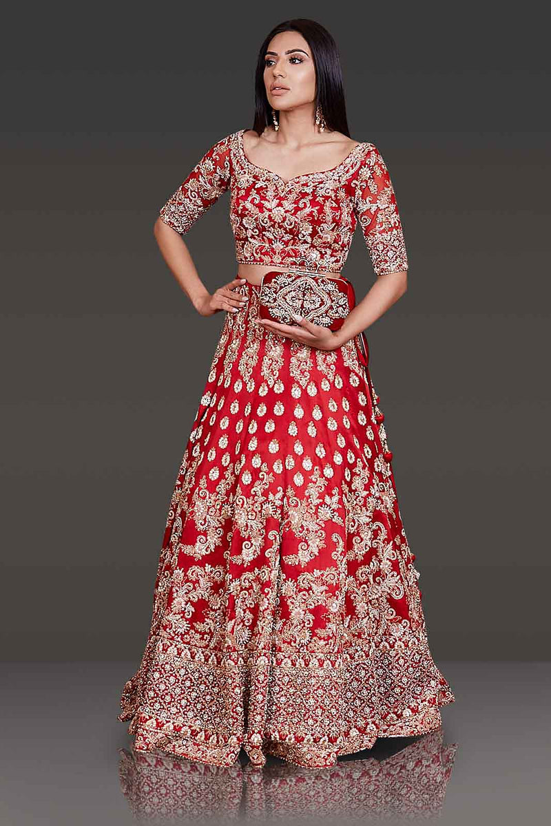 Bridal Red Lehenga Top With Net Scarf