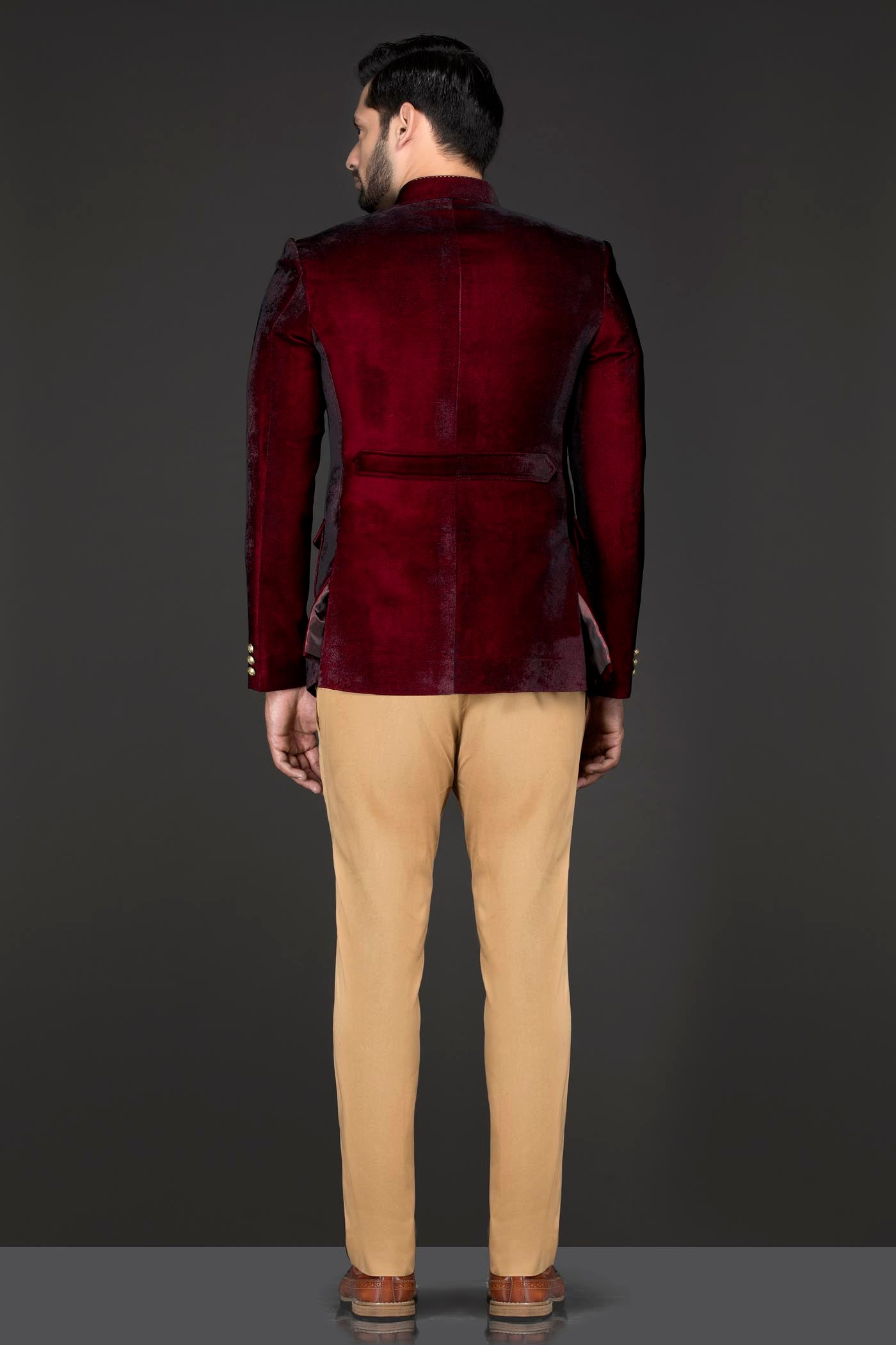 Maroon Velvet Cocktail Jacket/Band Gala Paired With Gold English Trousers