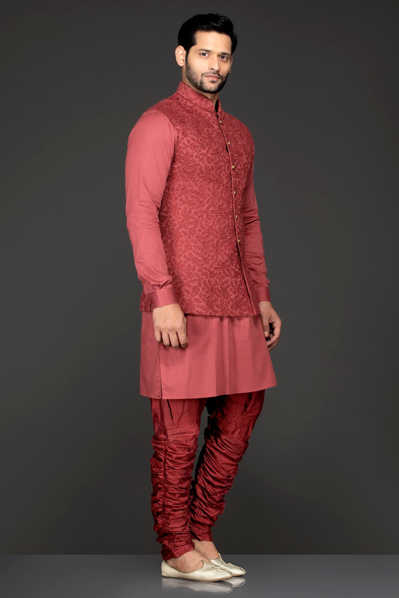 Rust Colour Kurta Chudidar And Short Nehru Jacket/Bundi
