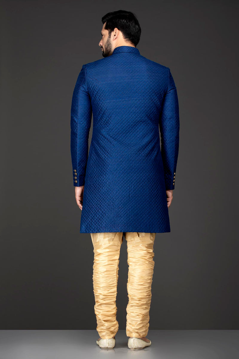 Royal Blue Quilted Sherwani Paired With Gold Chudidar Bottoms