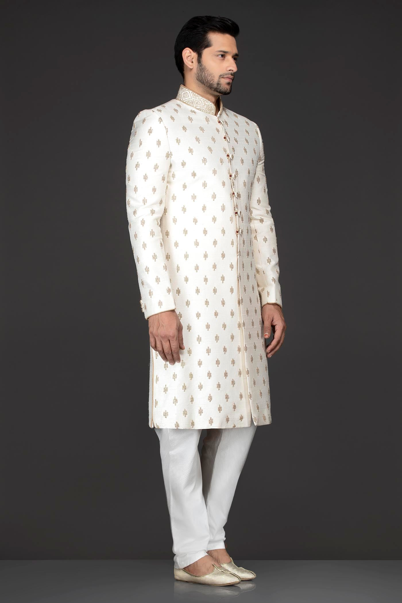 White Colour Silk Sherwani With White Bottoms