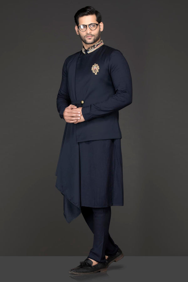 Navy Blue Indowestern Kurta And Bandi With Attached Shoulder Drape Paired With Ethnic Trousers