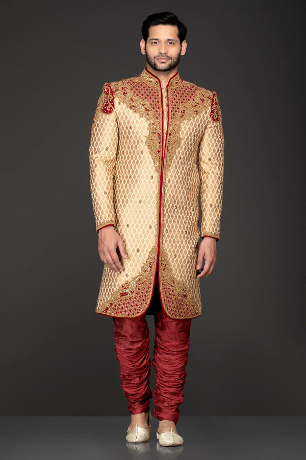 Gold Brocade Sherwani With Red Velvet Patch Gold Dabka And Silver Stone Embroidery With Red Silk Chudidar