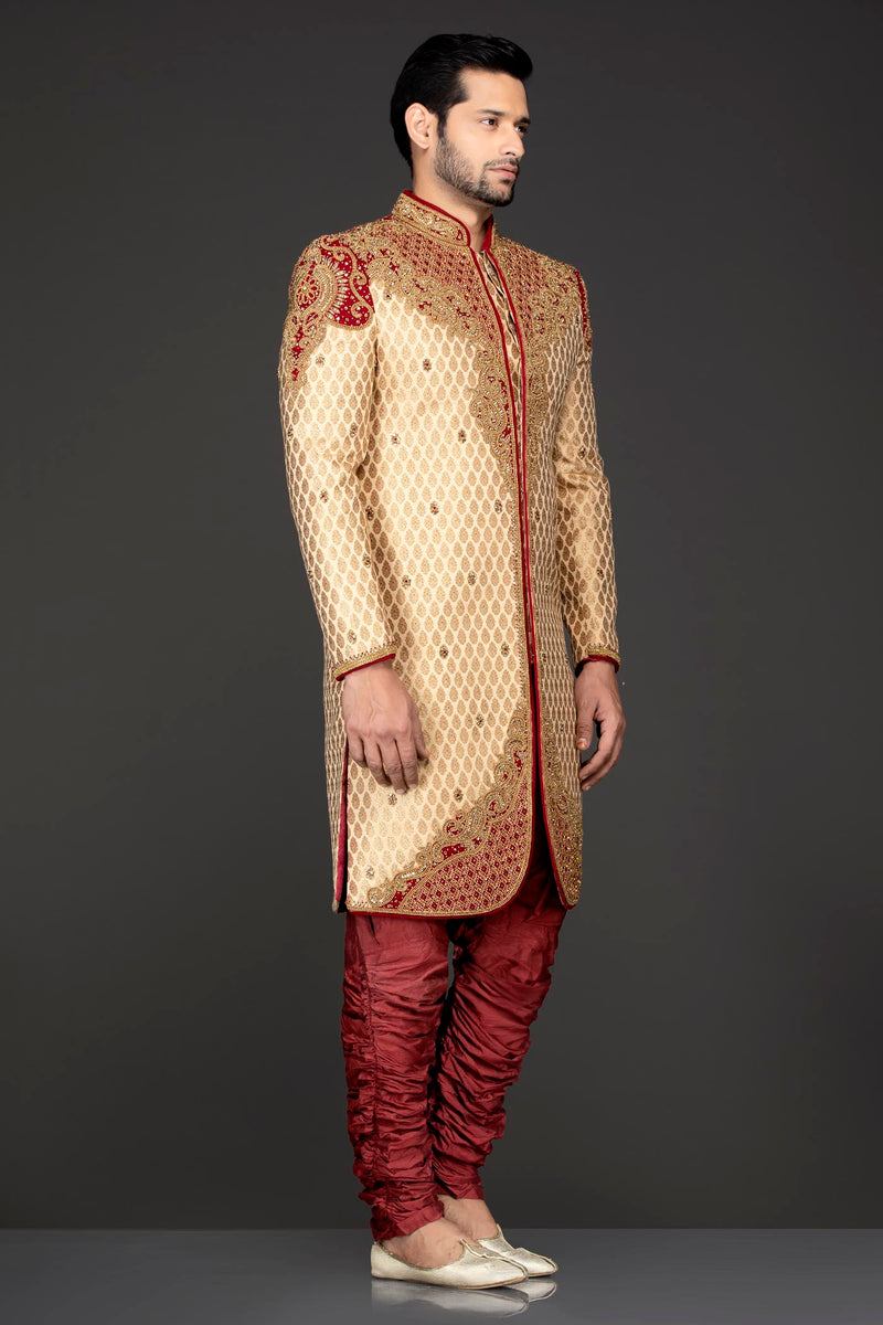 Gold Brocade Sherwani and Chuddidar with Red Velvet Patch, Dabka & Silver Stone Embroidery