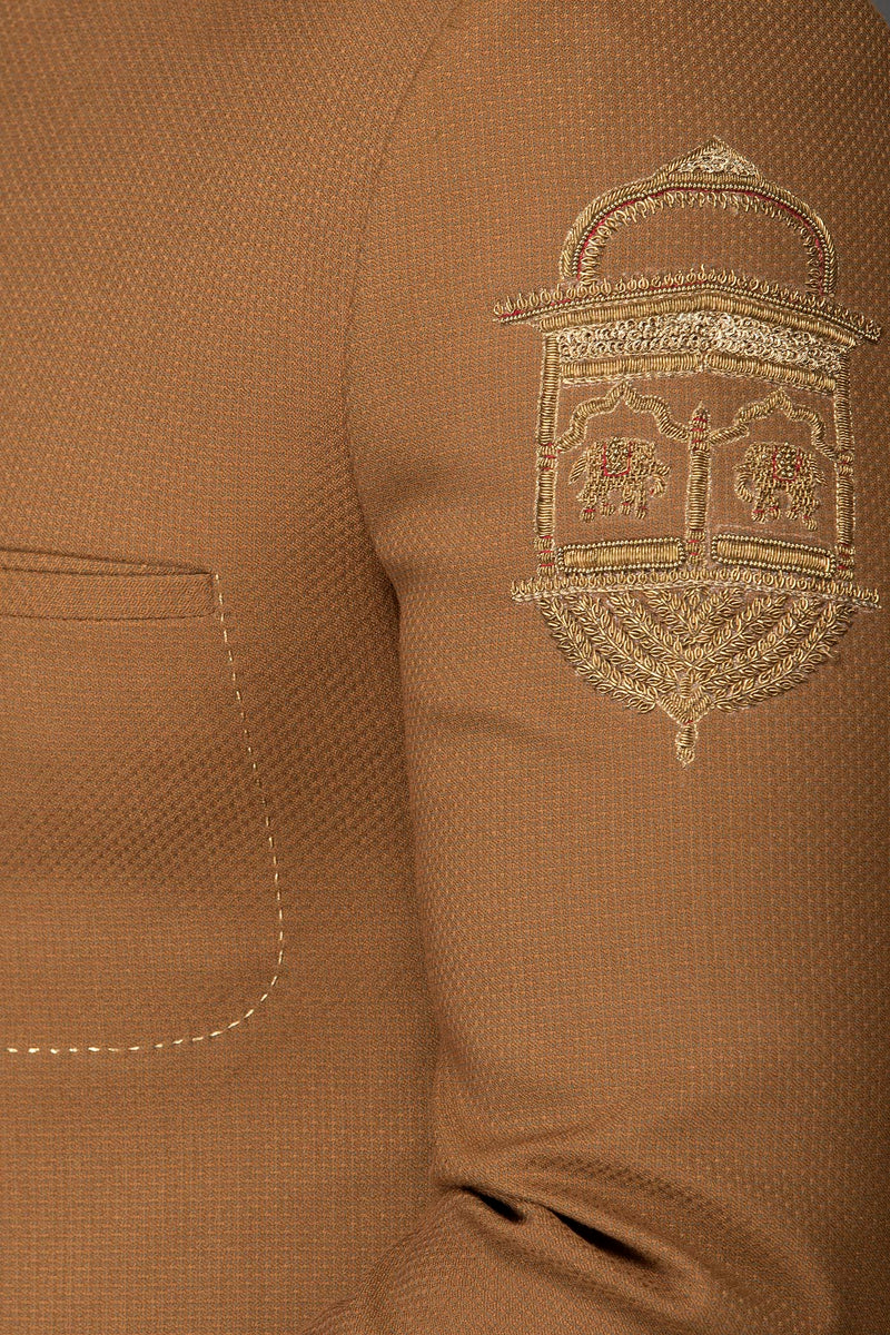 Camel Brown Colour Short Band Gala/ Cocktail Jacket Paired With Same Colour English Trousers