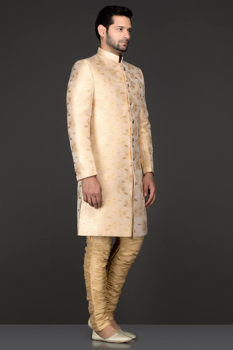 Gold Printed Silk Sherwani Self Print With Gold Trousers
