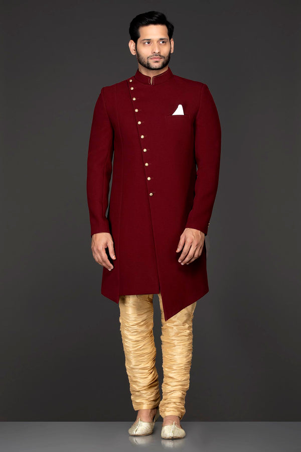 Maroon Silk Asymmetrical Sherwani Jacket With Gold Chudidar