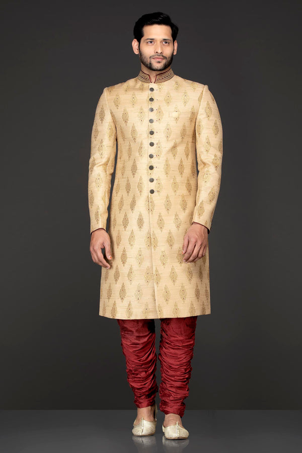 Gold Brocade Sherwani With Red Silk Chudidar(Bridges)