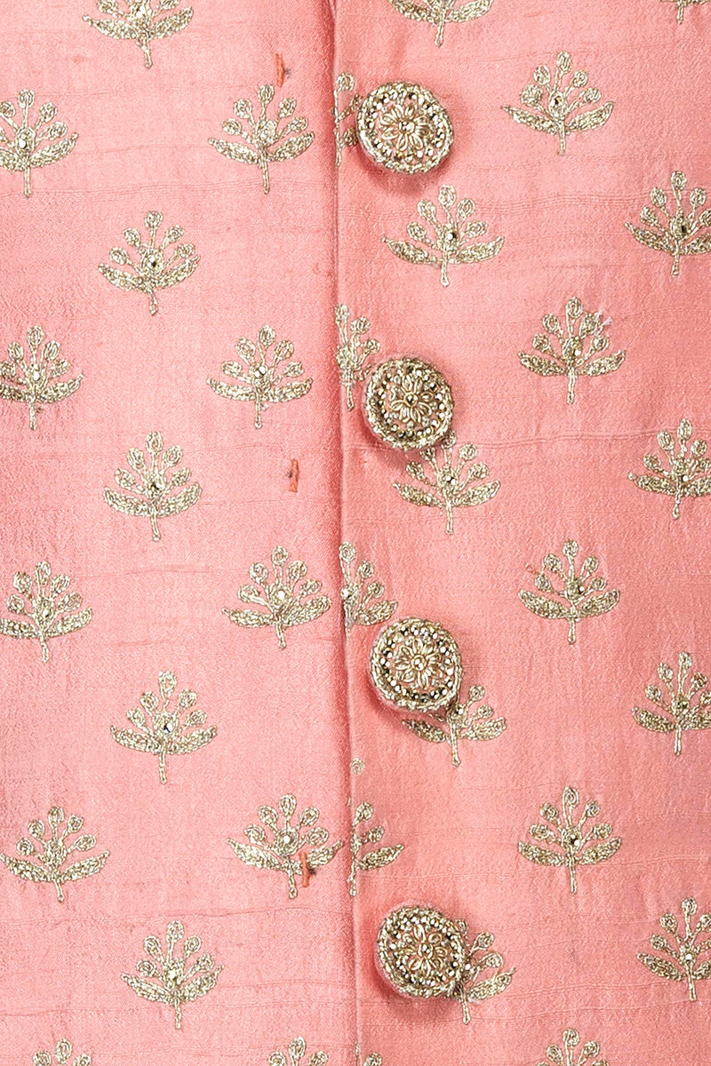 Peach Silk Sherwani With Silver Zari Embroidery And White Silk Bottoms