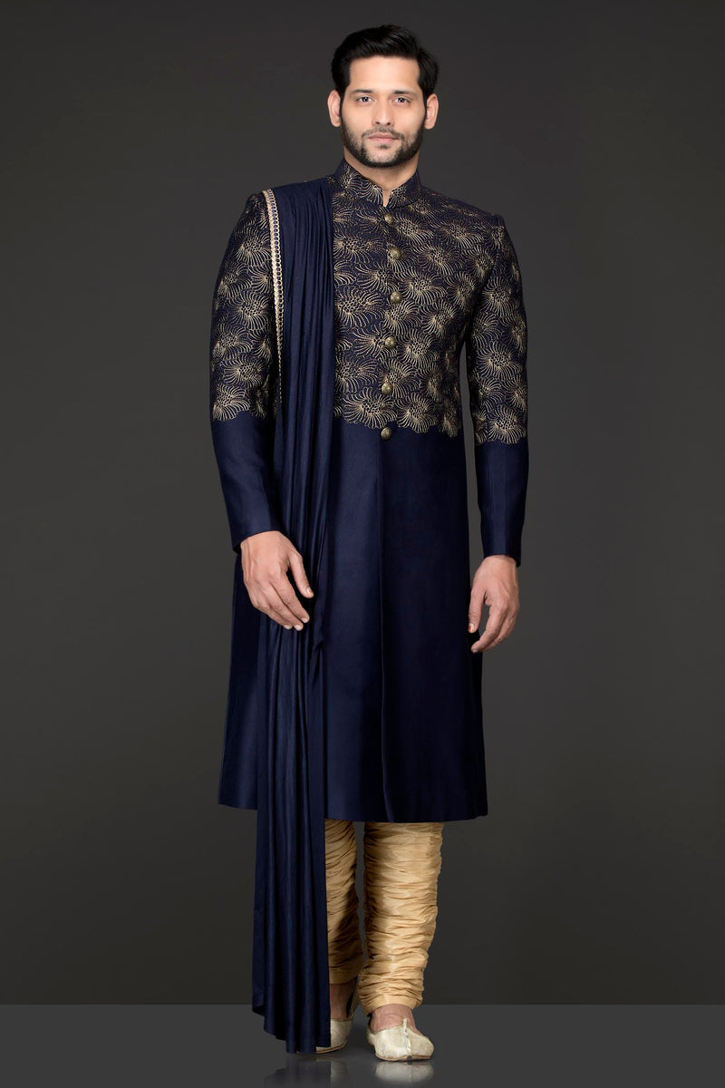 Blue Silk Suiting Jacket Sherwani With Shoulder Lycra Drape With Gold Silk Chudidar