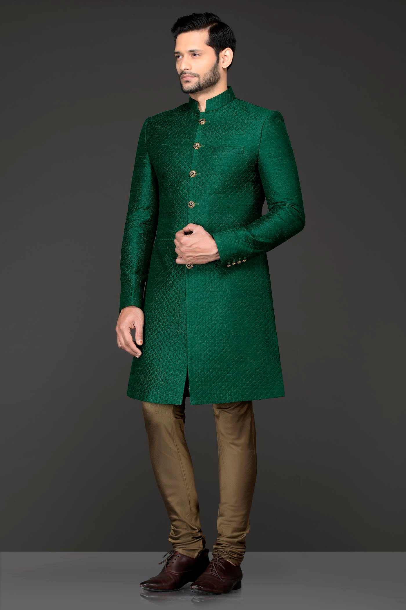 Emerald Green Quilted Fabric Sherwani With Gold Chudidar