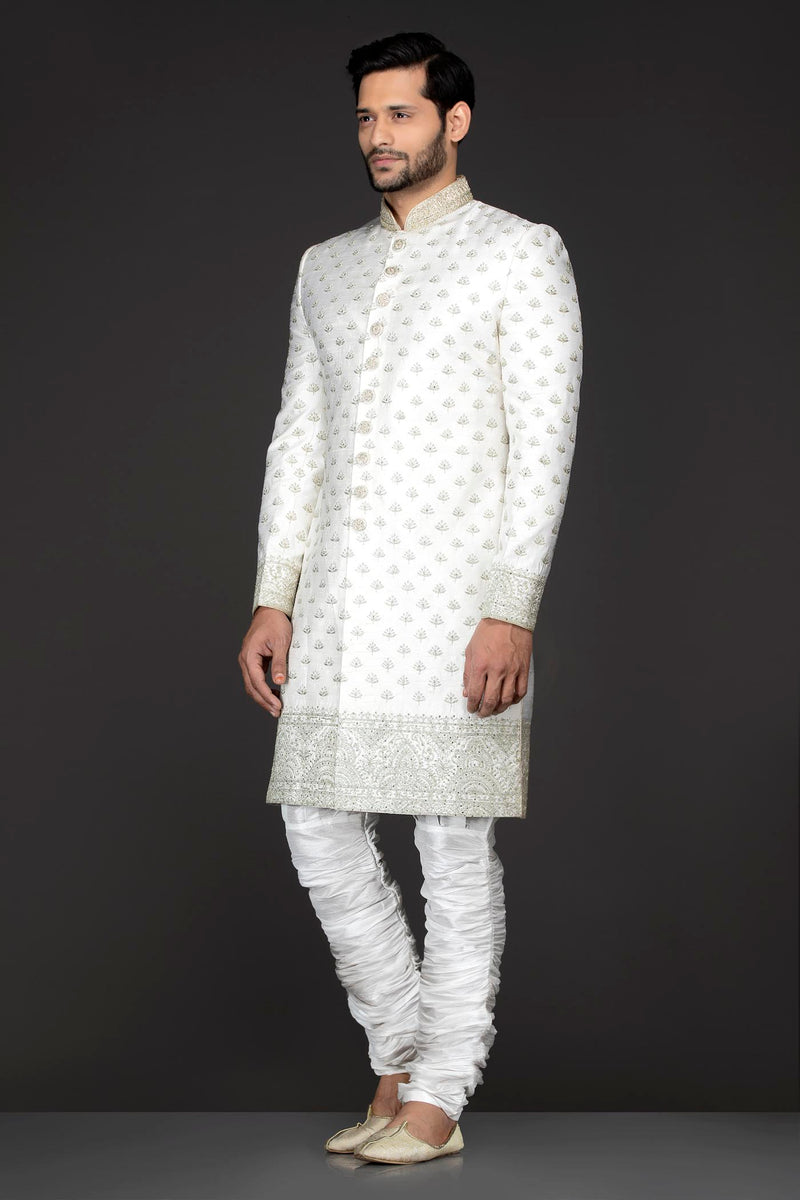 White Colour Silk Sherwani With Silver Zari Embroidery And White Silk Chudidar