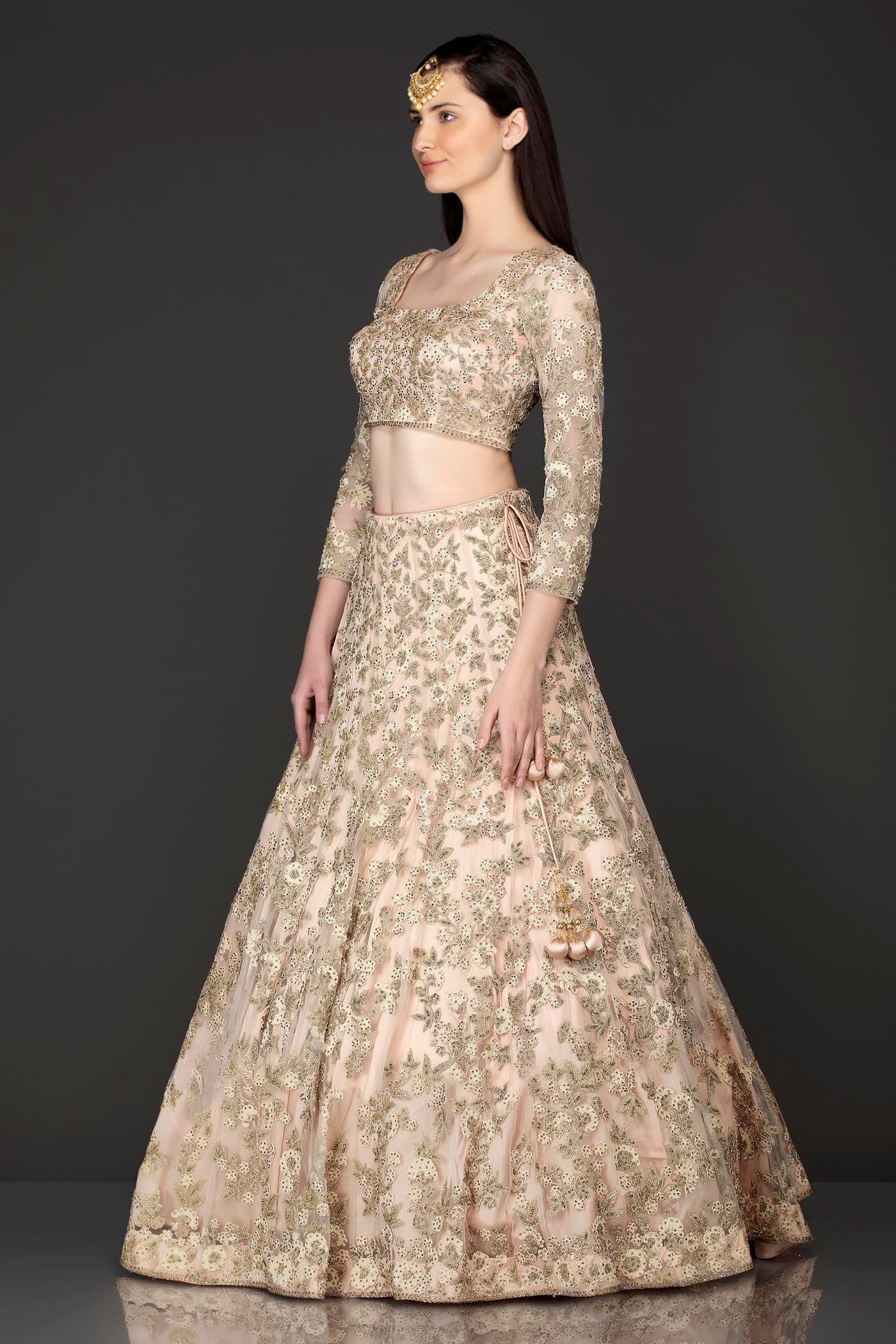 Nude Colour Net Lehenga Top With Heavy Resham And Zari Embroidery