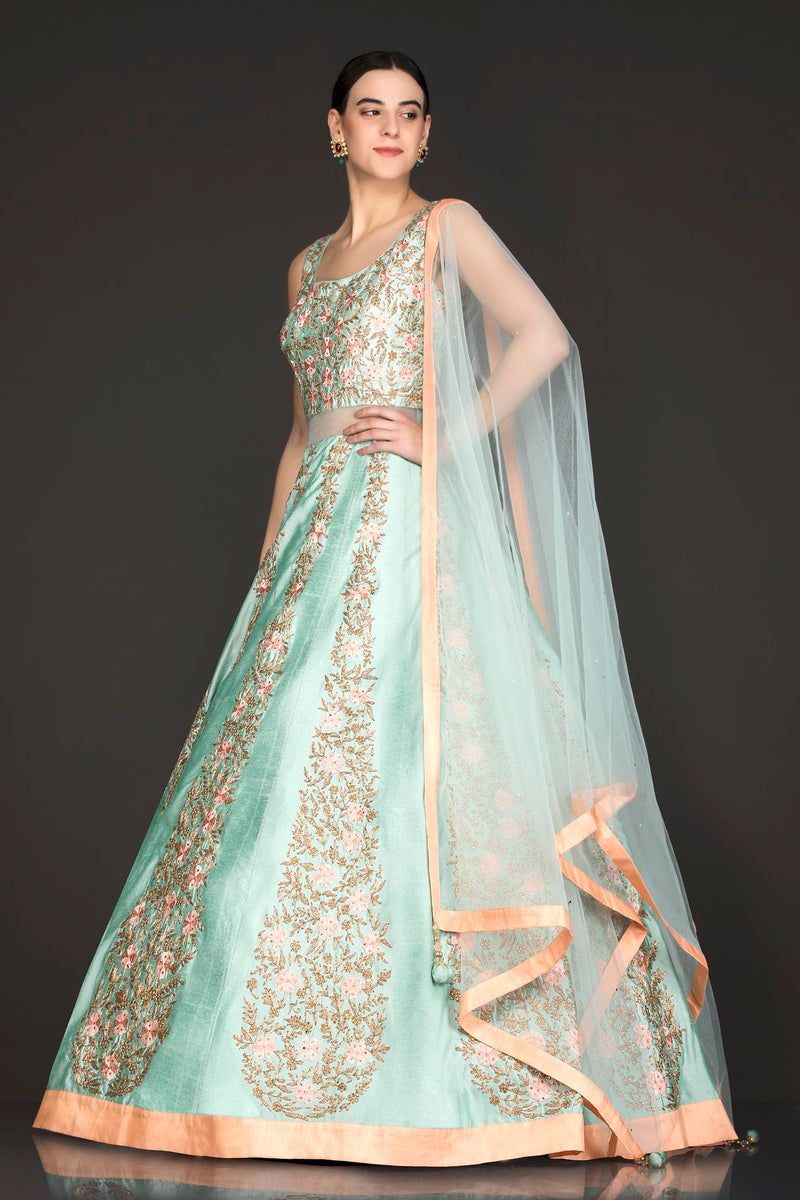 Mint Green Silk Anarkali/Gown With Net Dupatta And Resham/Thread And Gold Zari Embroidery