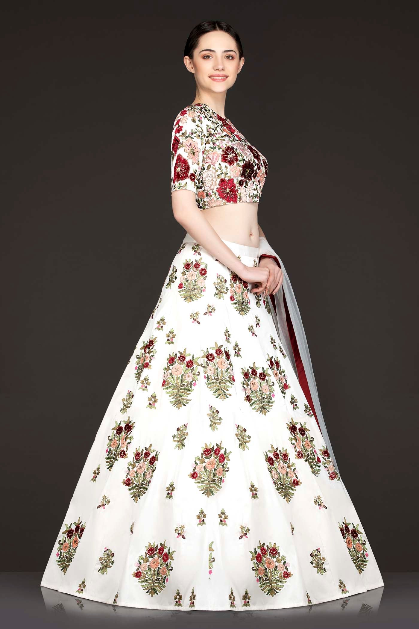 White Silk Lehenga Top With Maroon And Peach Velvet Patch Floral Embro Mongas