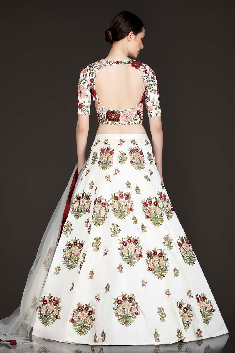 White Silk Lehenga Top With Maroon And Peach Velvet Patch Floral Embroidery