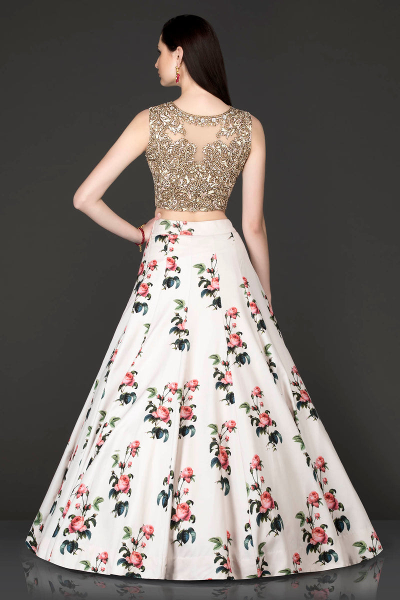 White Floral Skirt With Gold Embroidery Top With Net Dupatta