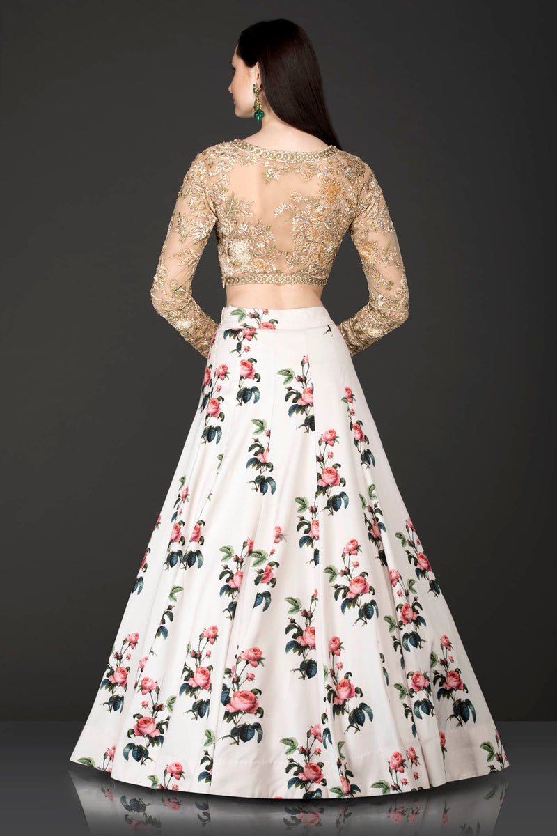 White Floral Skirt With Gold Organza Embriodery Top With Net Dupatta