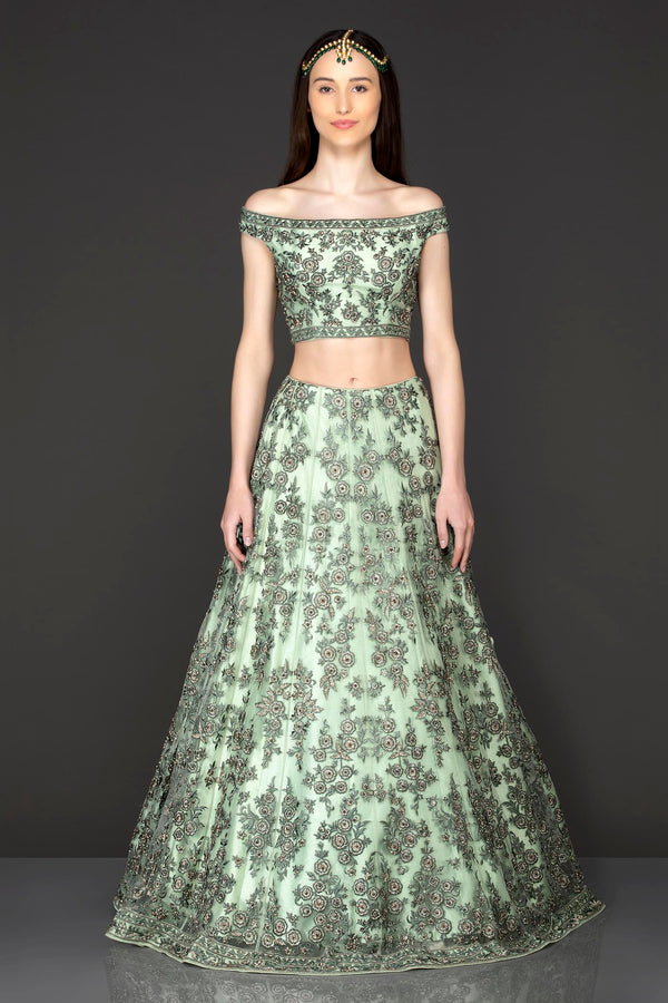Mint Green Net Lehenga Top With Grey Thread/Resham Embroidery Highlighted With Silver Stones