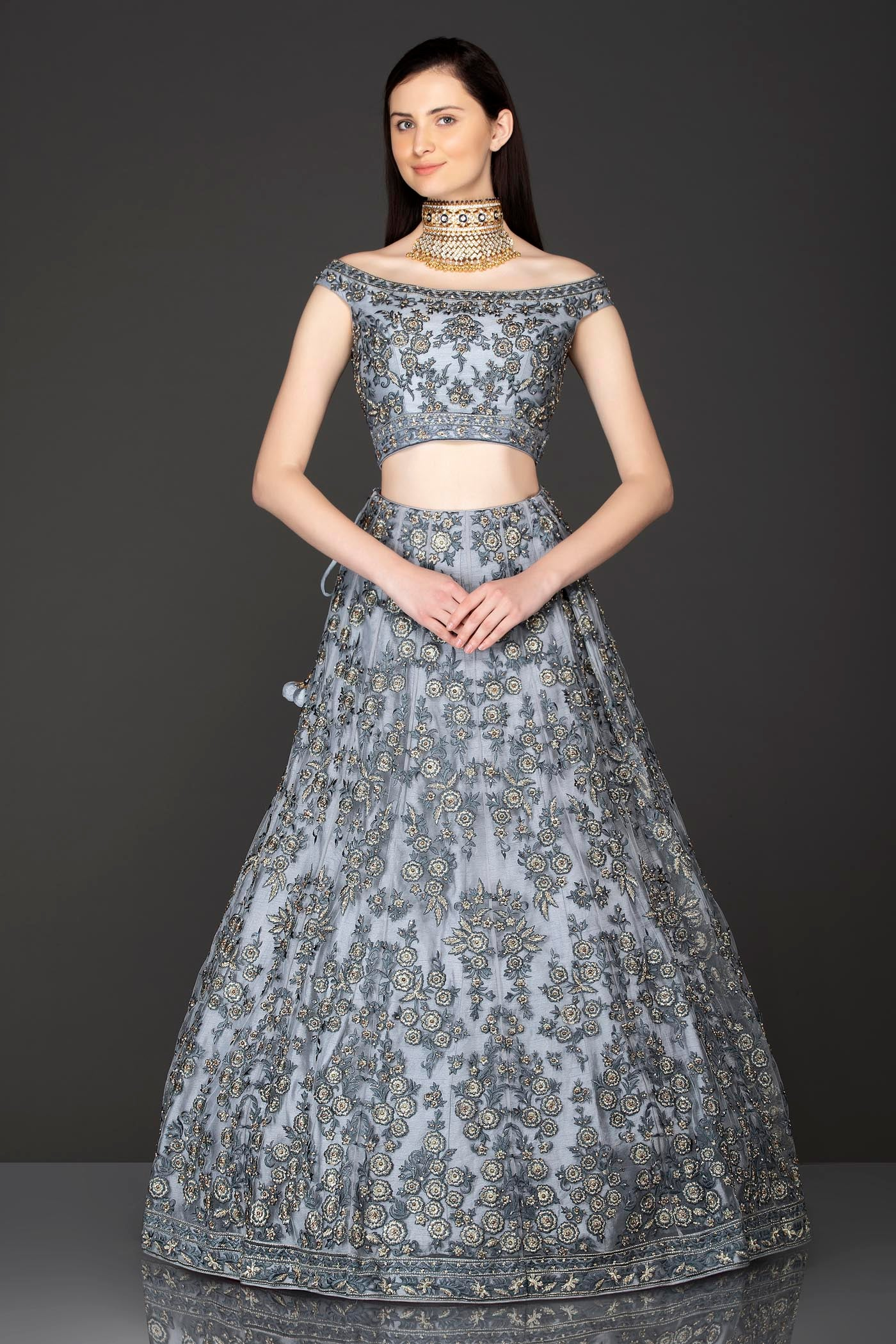 Grey Net Lehenga Top With Grey Resham/Thread Embriodery Highlighted With Silver Stones