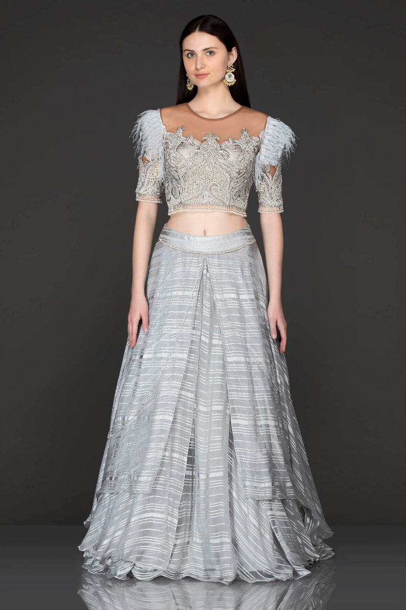Grey Net Top With Grey Printed Crepe Skirt With Silver Dabka And White Feather Embriodery