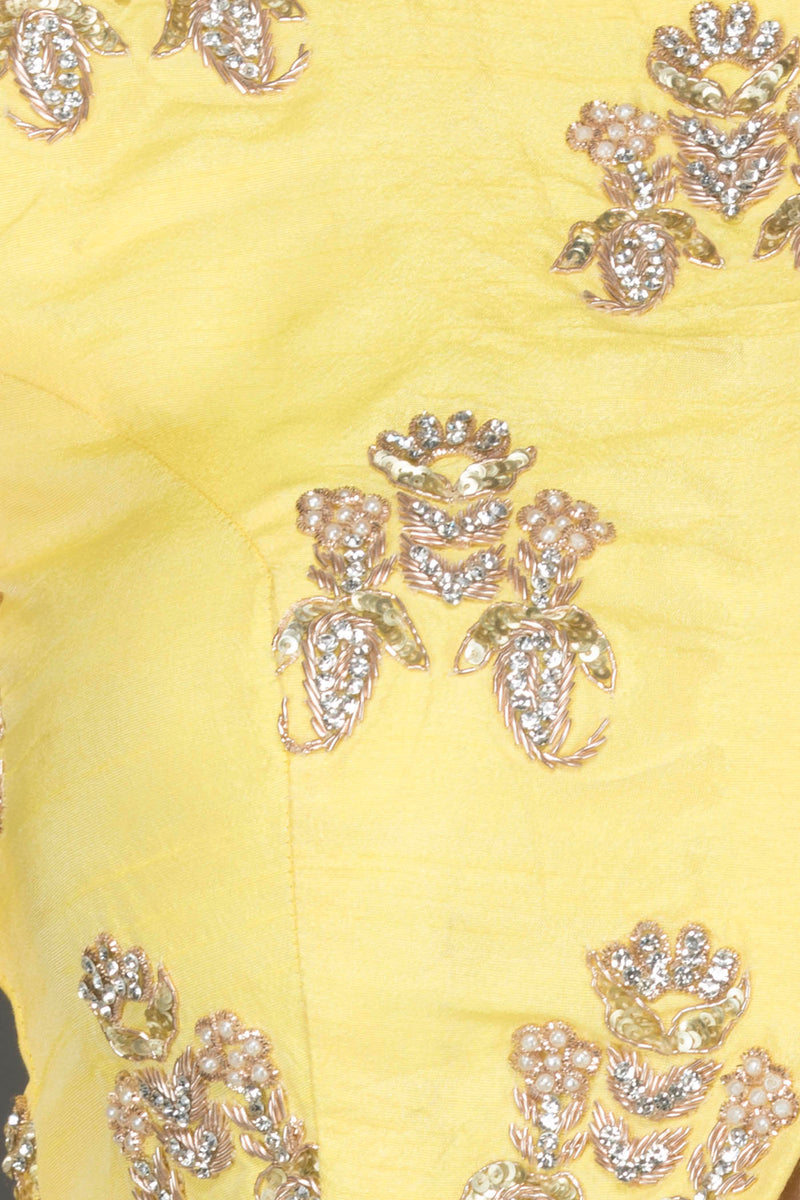 Mint Green Silk Lehenga With Yellow Silk Top And Mint Green Net Dupatta With Gold Dabka And Pearl Embroidery