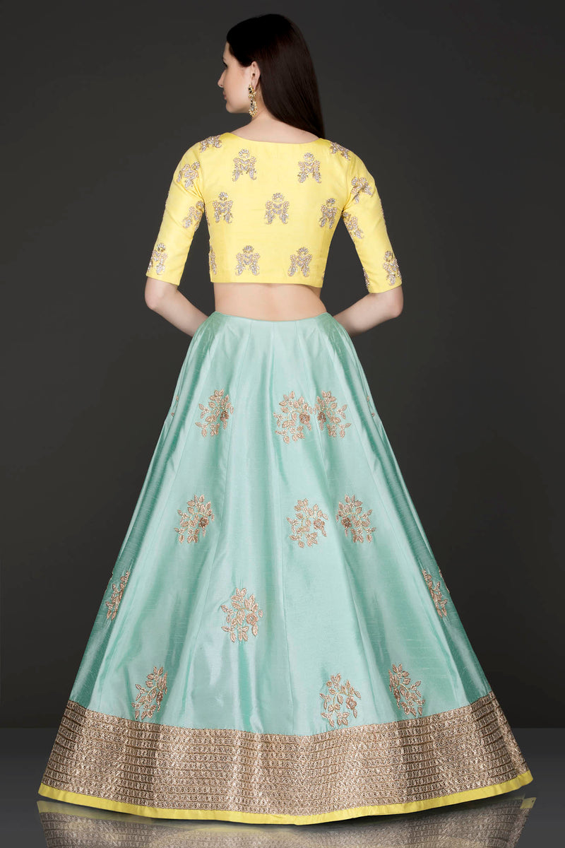 Silk Lehenga, Top and Net Dupatta with Gold Dabka and Pearl Embroidery