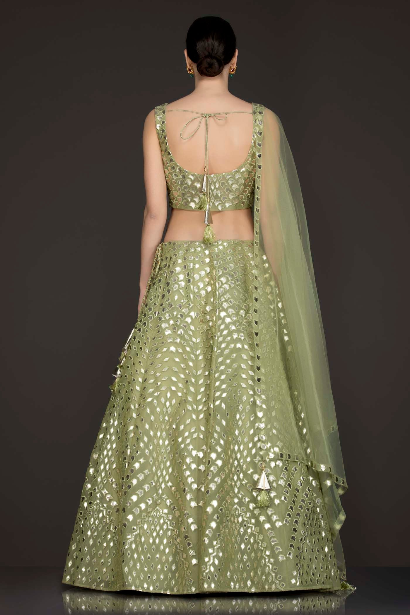 Olive Green Organza Lehenga-Top With Leather Patch Embroidery