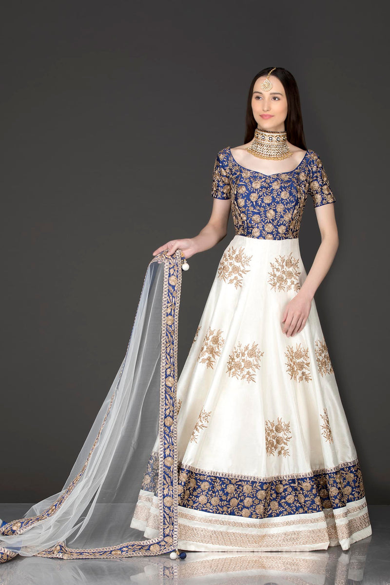 Royal Blue And White Silk Anarkali With Gold Zari Embriodery
