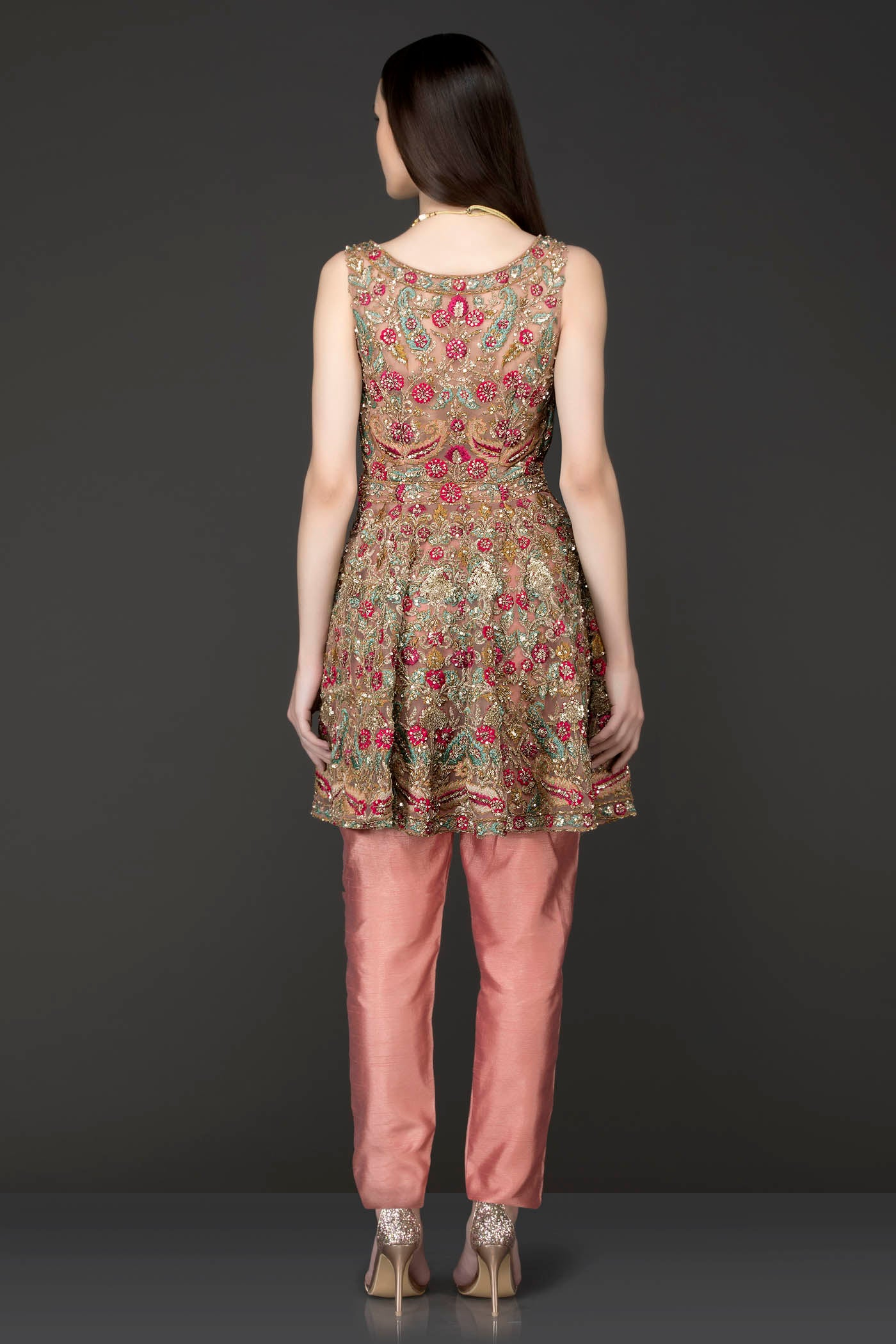 Dark Peach Peplum With Dark Peach Silk Pants/Trousers Embellished With Heavy Embriodery