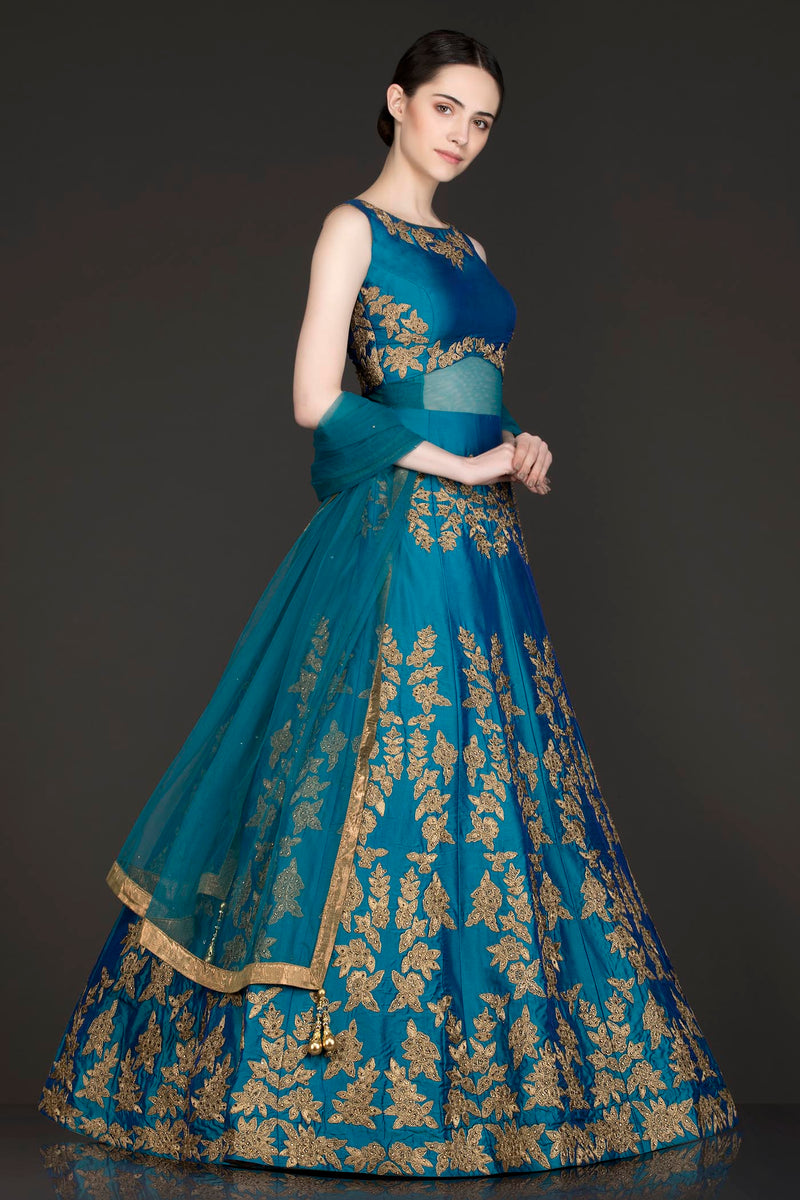 Ferozi Blue See Through Waist Anarkali/Gown With Net Dupatta