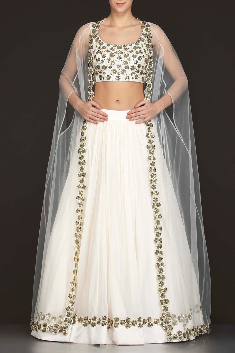 White Georgette Skirt With Net Cape And Silk Top