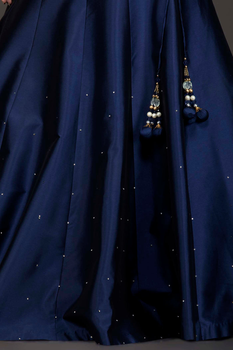 Navy Blue Silk Lehenga And Embriodery Top With Net Dupatta