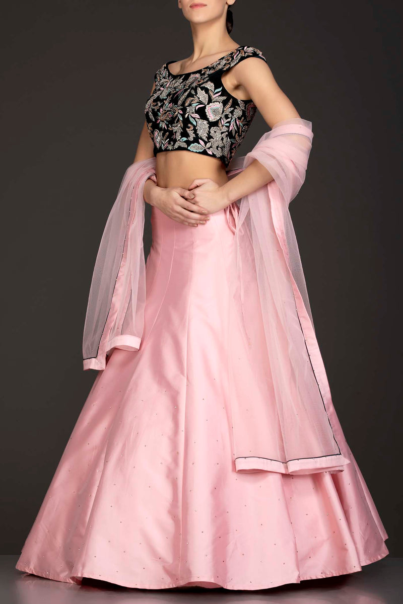 Dark Green Velvet Top With Baby Pink Silk Lehenga And Net Dupatta