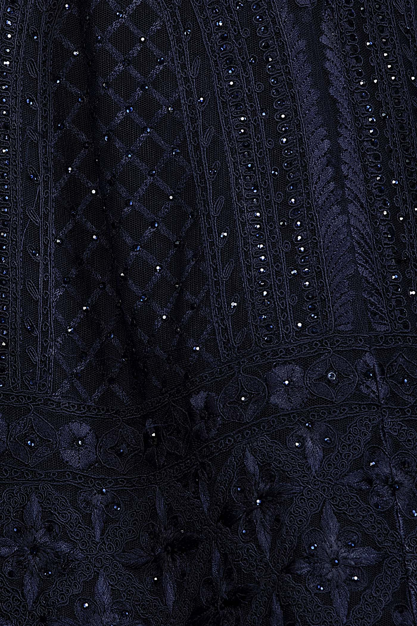 Navy Blue Net Anarkali/Gown With Georgette Skirt And Net Dupatta