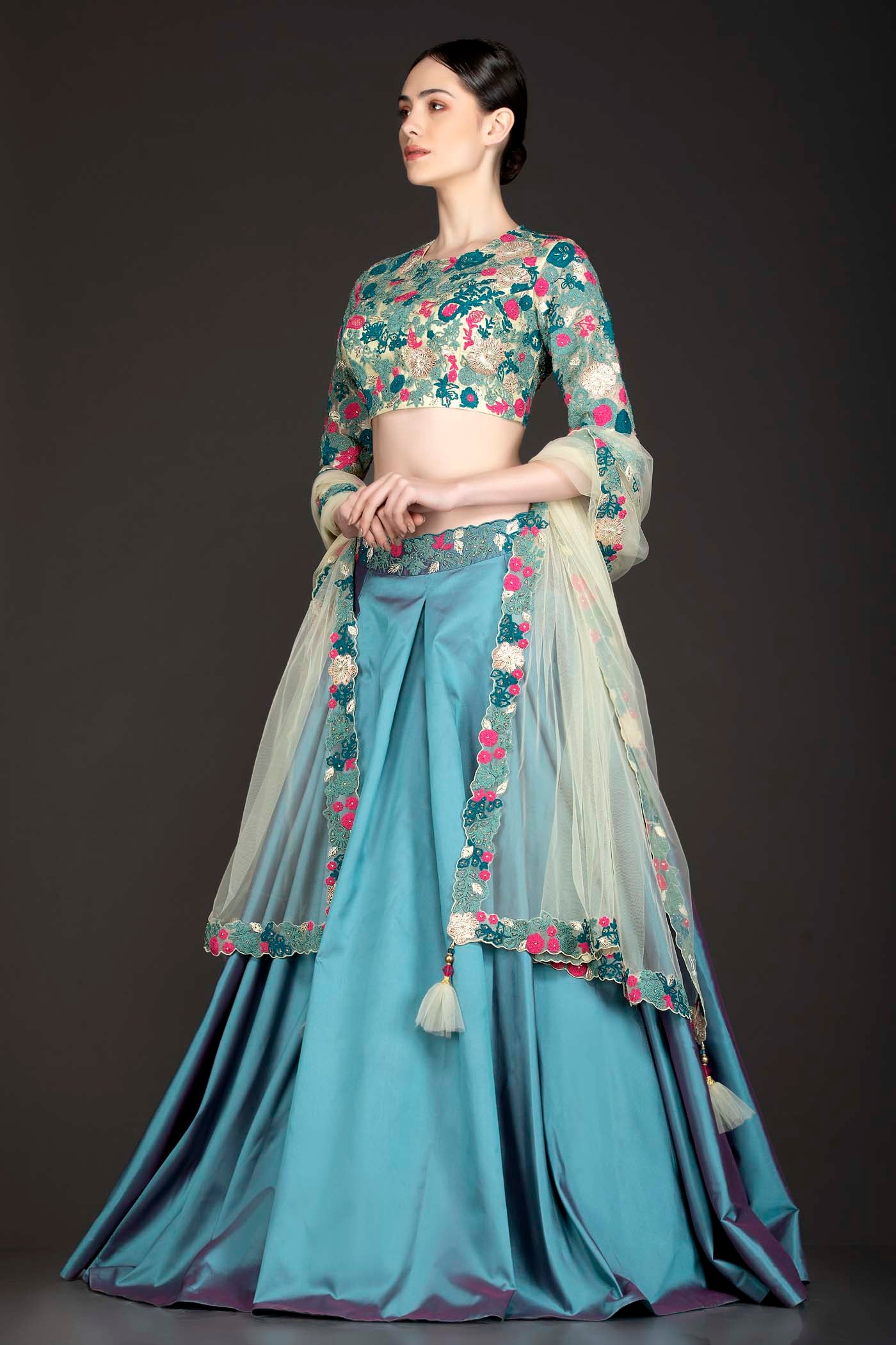 Blue Colour Silk Box Pleat Skirt With Gold Net Top And Dupatta